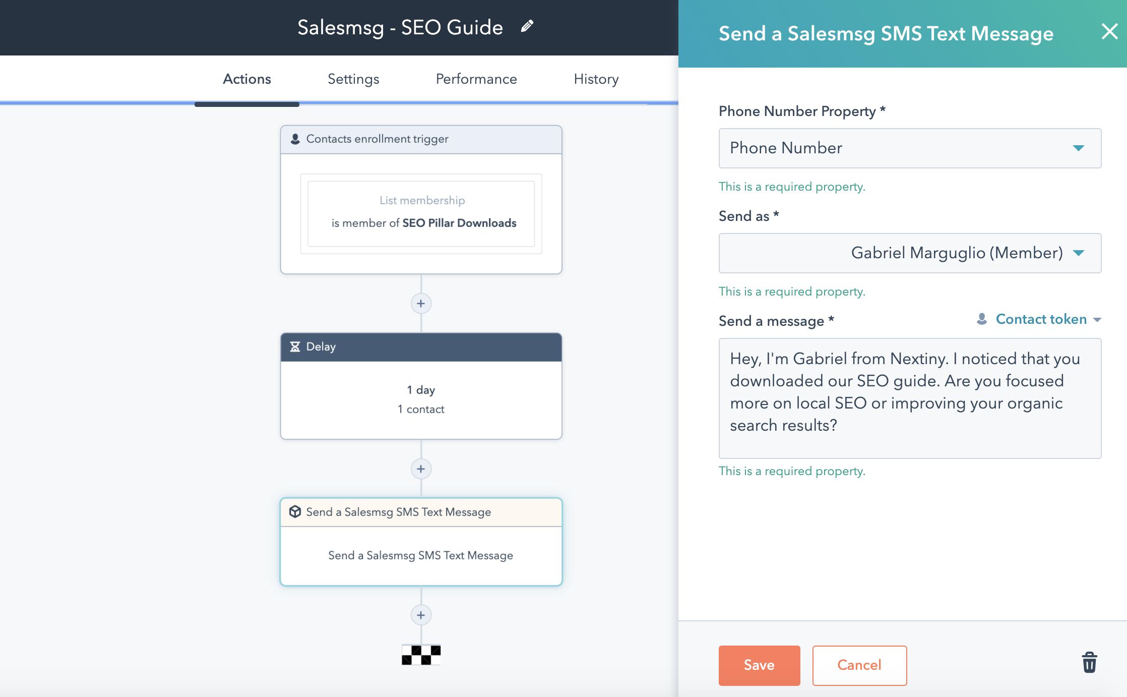 SalesMsg screenshot