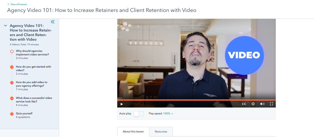 hubspot academy agency video 101 how to increase retainers and client retention with video