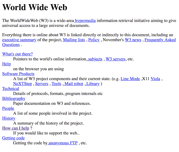 The first web page