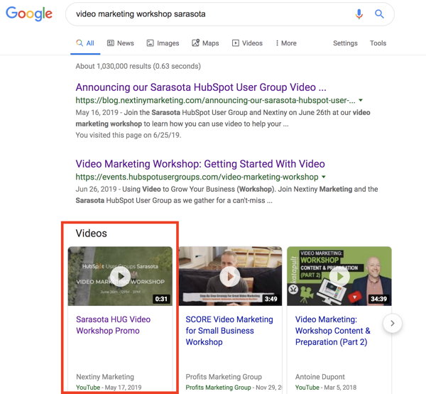 local seo SERP page