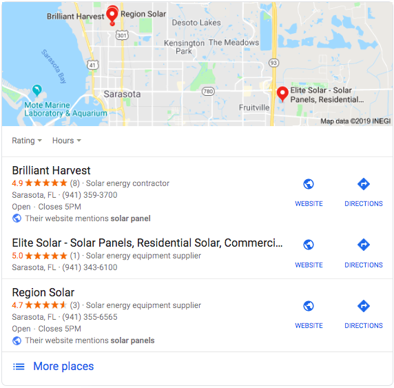 solar panels google local SEO snippet
