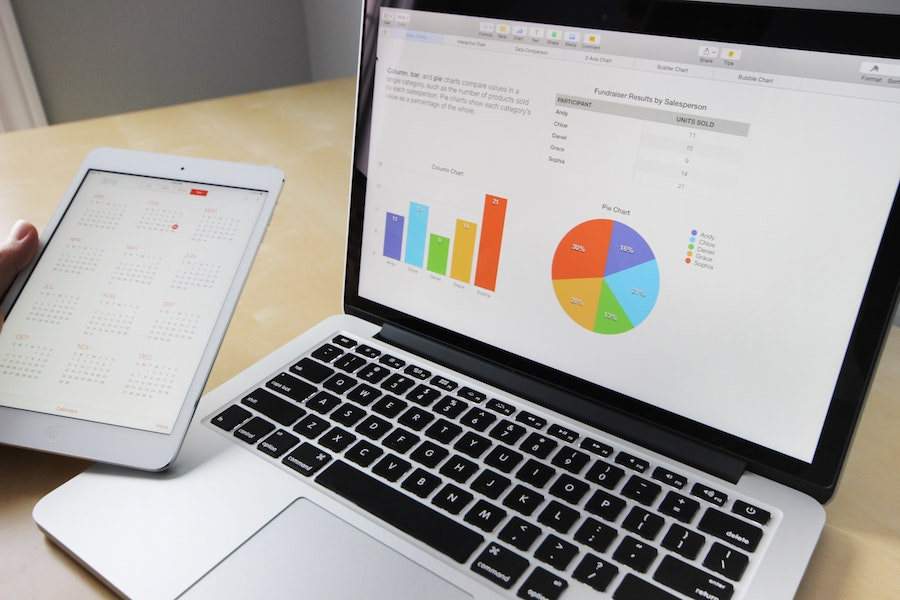data graph on computer on desk with tablet